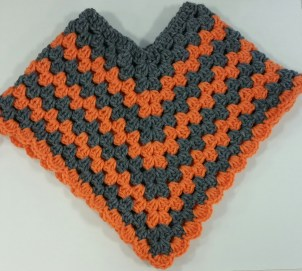 Orange and Grey Toddler Poncho - Lee
