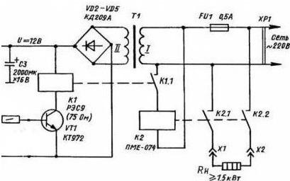 Схема подключения пускателя через терморегулятор