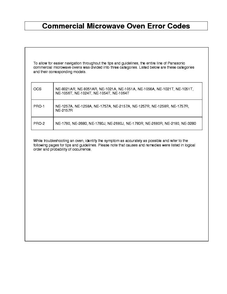panasonic microwave repair codes