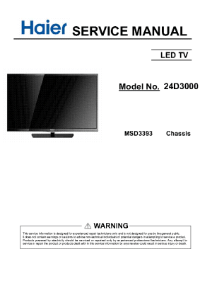 HAIER 24D3000 CHASSIS MSD3393 Service Manual download