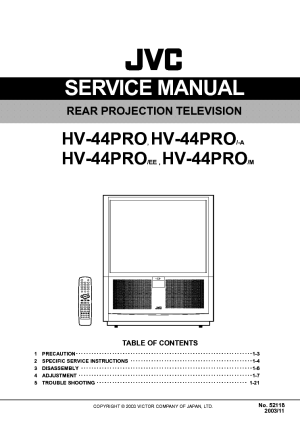 JVC HV44PRO PROJECTION TV SM Service Manual download