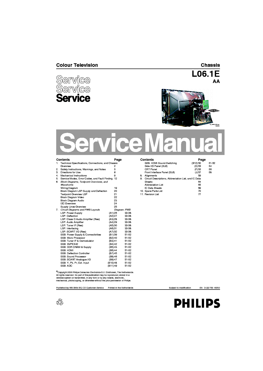 Philips Chassis L06 1e 29pt 12 Service Manual Download