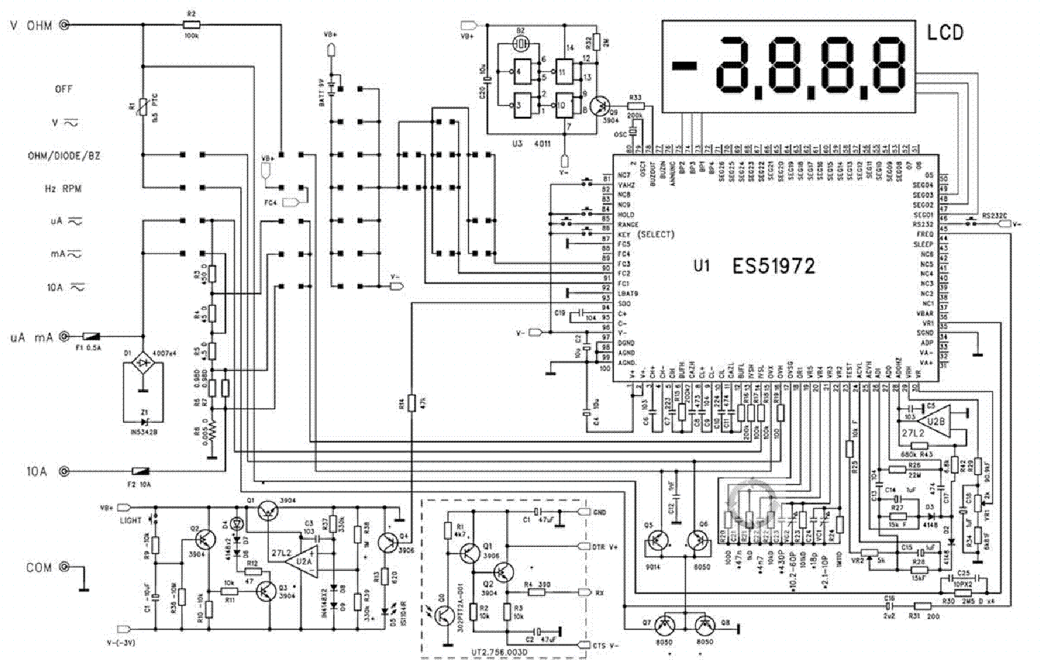 Multimeter Ut60d Sch Service Manual Download Schematics