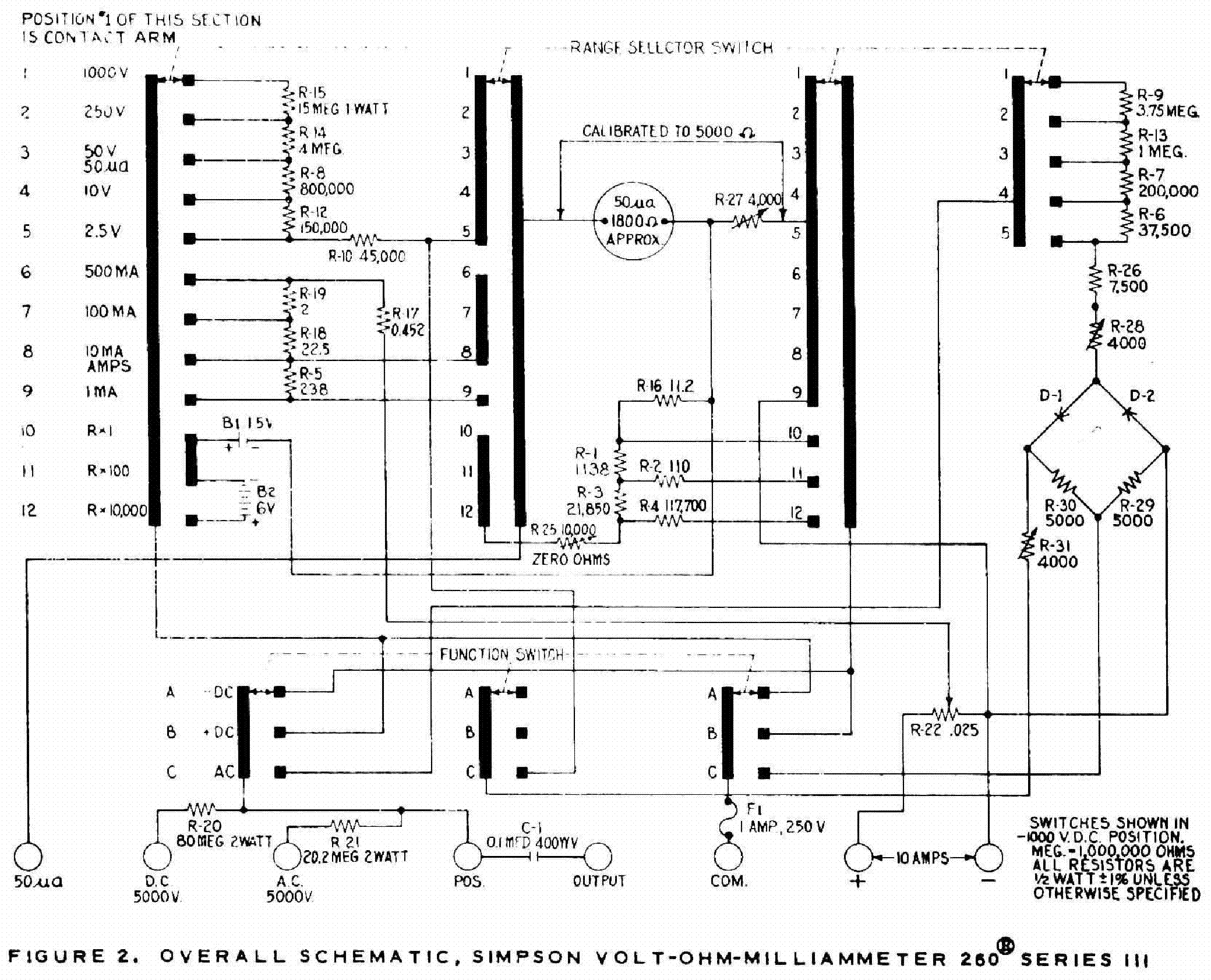 Simpson 260 3og Multimeter Sch Service Manual Download Schematics Eeprom Repair Info For