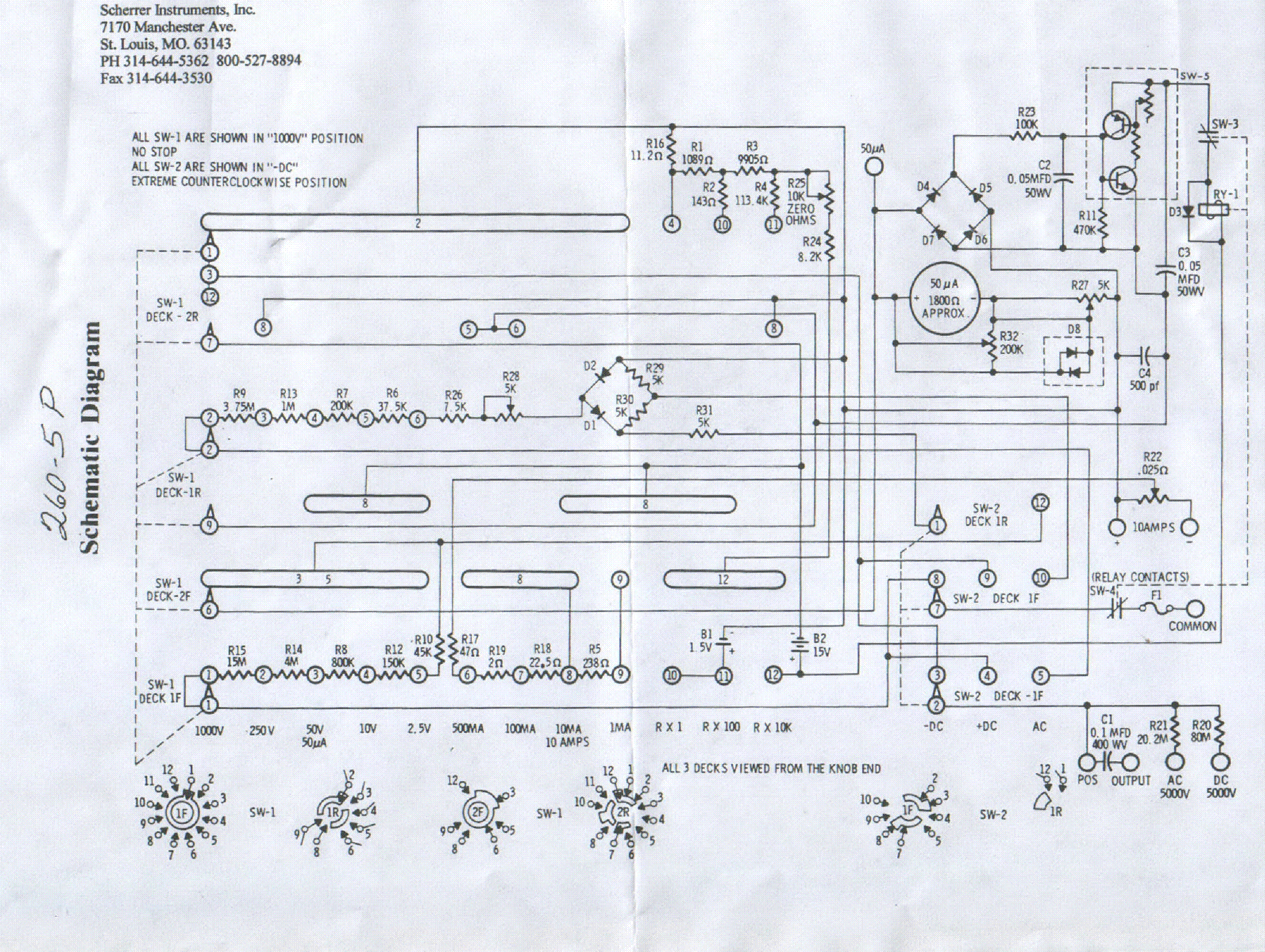 Simpson 260 Multimeter Schematic Images