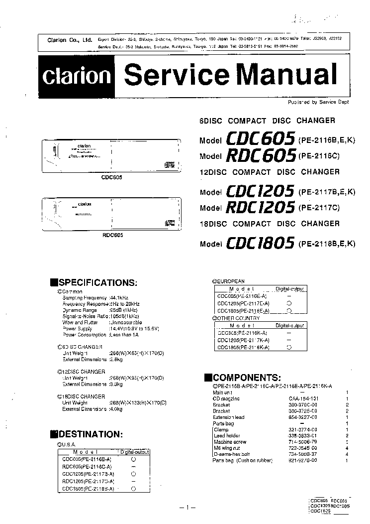 clarion_cdc605_cdc1205_cdc1805.pdf_1 acs295 wiring diagram diagram wiring diagrams for diy car repairs exmark lz27kc604 wiring diagram at crackthecode.co