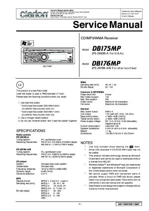CLARION DB175MP 176MP Service Manual download, schematics