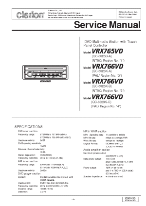 CLARION VRX765VD 766VD Service Manual download, schematics