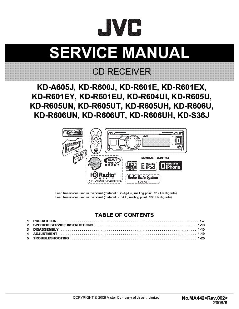 Jvc Kd A605 R600 R601 R604 R605 R606 S36 Ma442 Sm Service