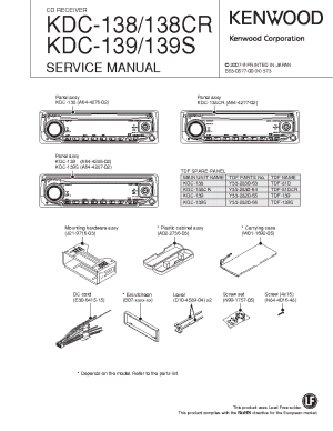 KENWOOD KDC138 CR 139 S SM Service Manual download, schematics, eeprom, repair info for