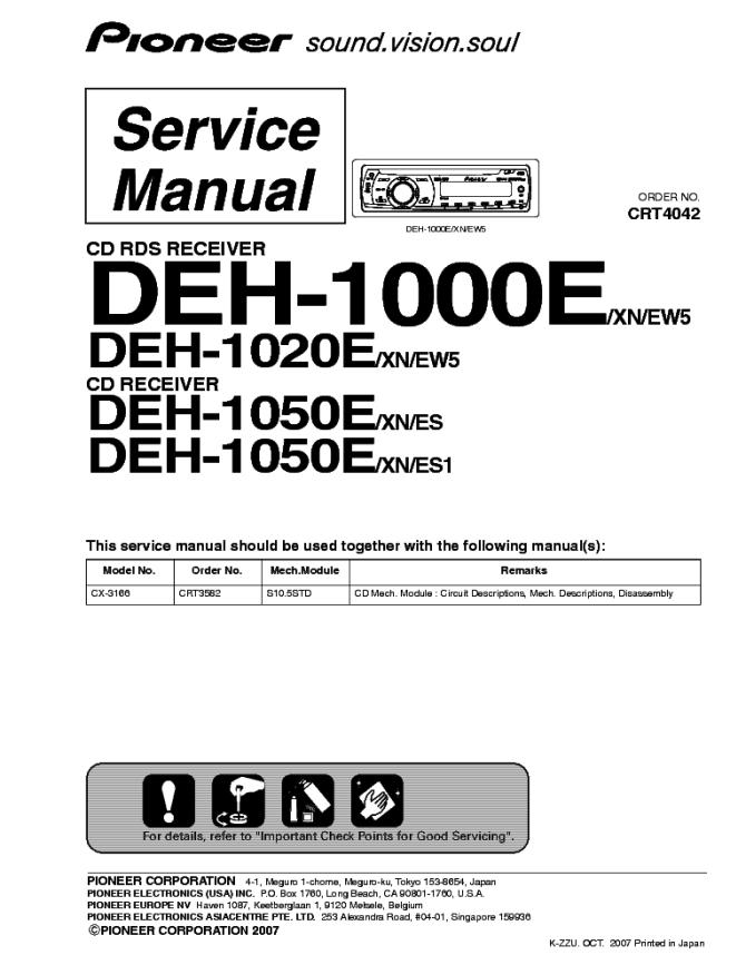 pioneer lexus ls430 gm8537 crt3058 service manual download