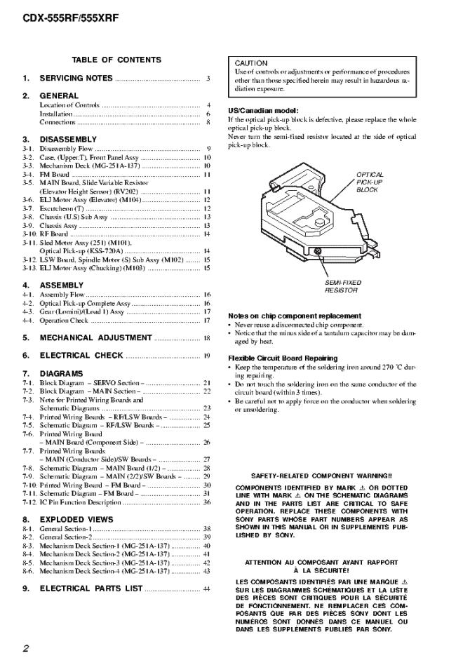 manuals sony cdx 555rf repair service manual pdf full