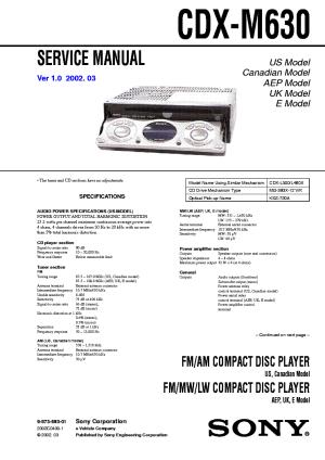 SONY CDXM630 Service Manual download, schematics, eeprom