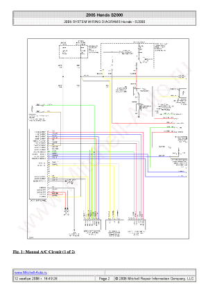 HONDA S2000 2005 WIRING DIAGRAMS SCH Service Manual
