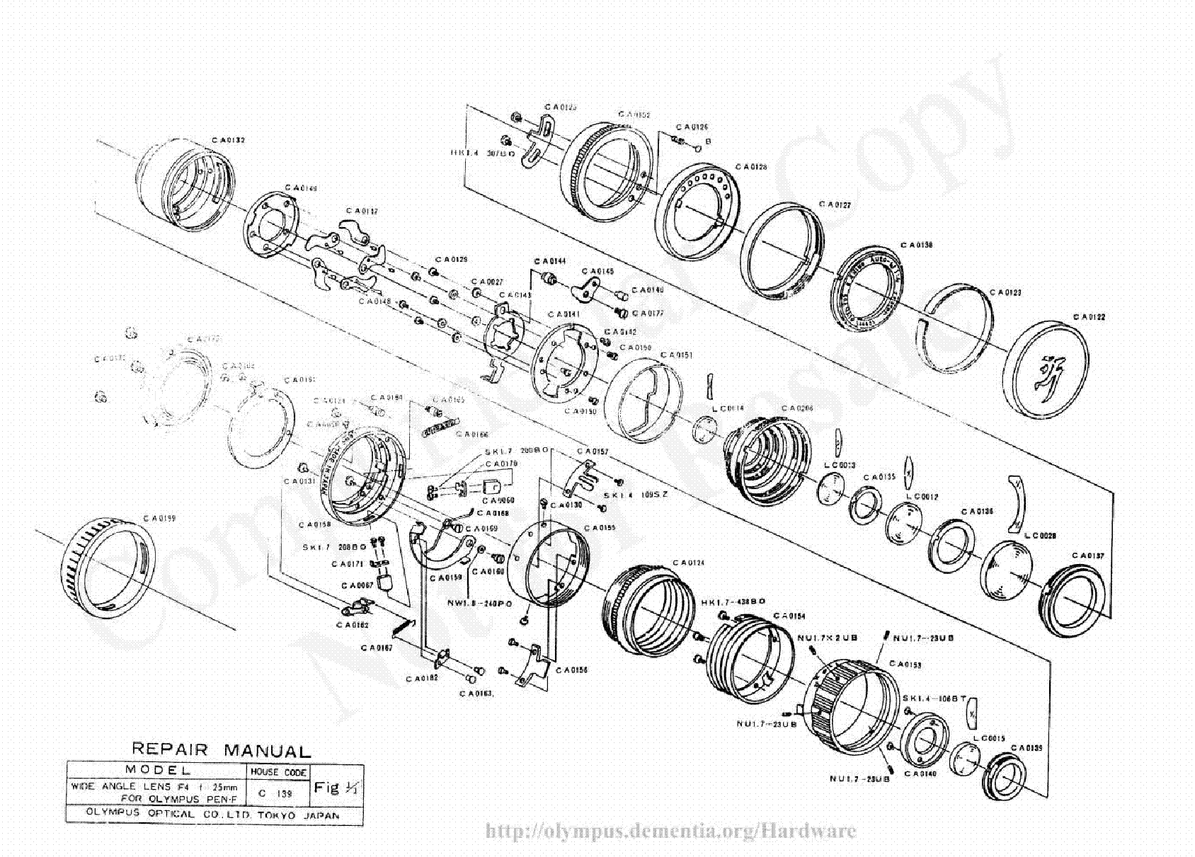 Olympus 25mm F4 Exploded Parts Diagram Service Manual