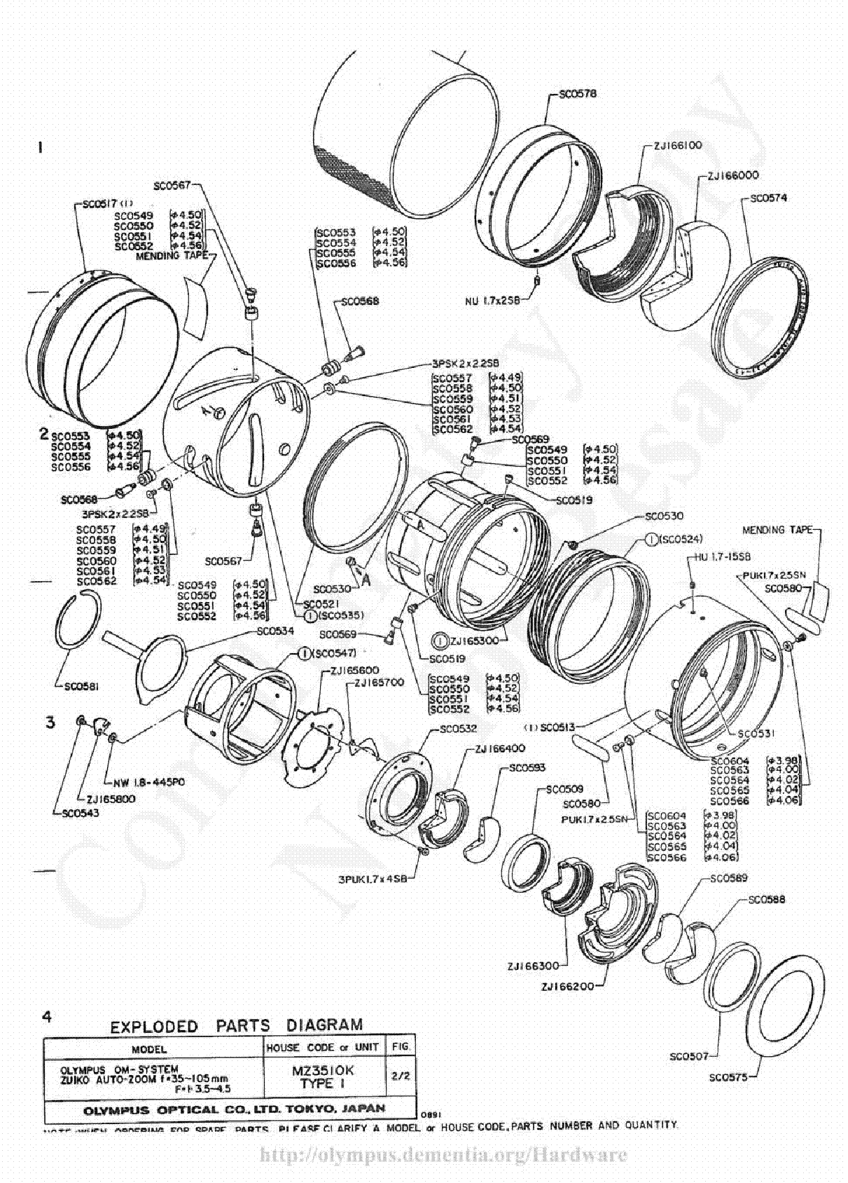 Olympus 35 105mm F3 5 4 5 Exploded Parts Diagram Service