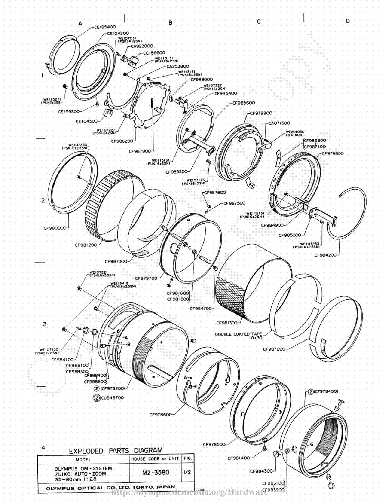 Olympus 35 80mm F2 8 Exploded Parts Diagram Service Manual Download Schematics Eeprom Repair