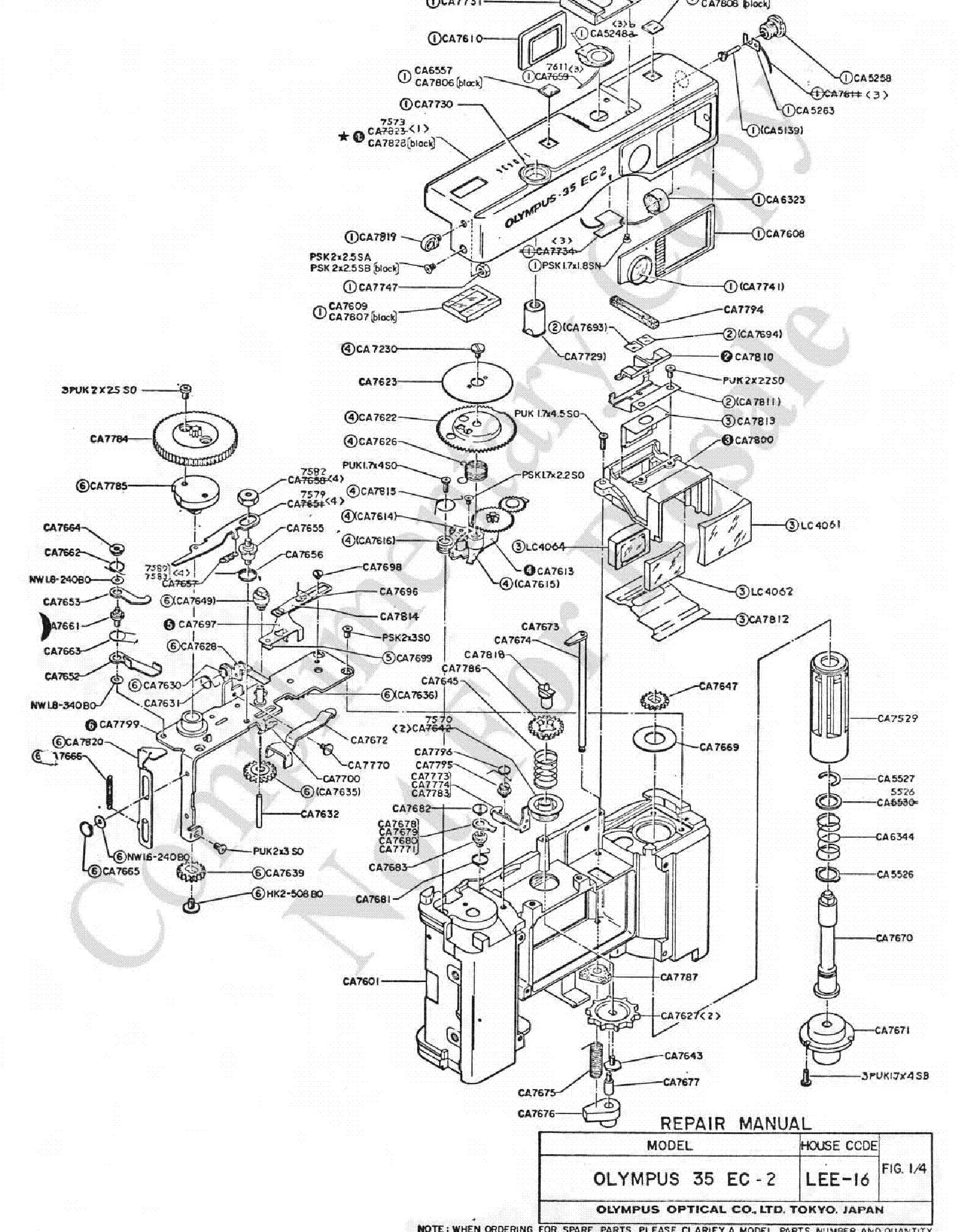 Olympus 35ec 2 Exploded Parts Diagram Service Manual