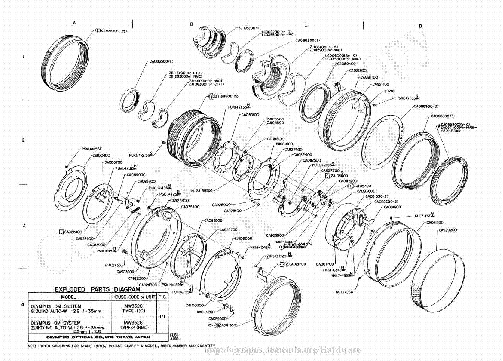Olympus 35mm F2 8 Exploded Parts Diagram Service Manual