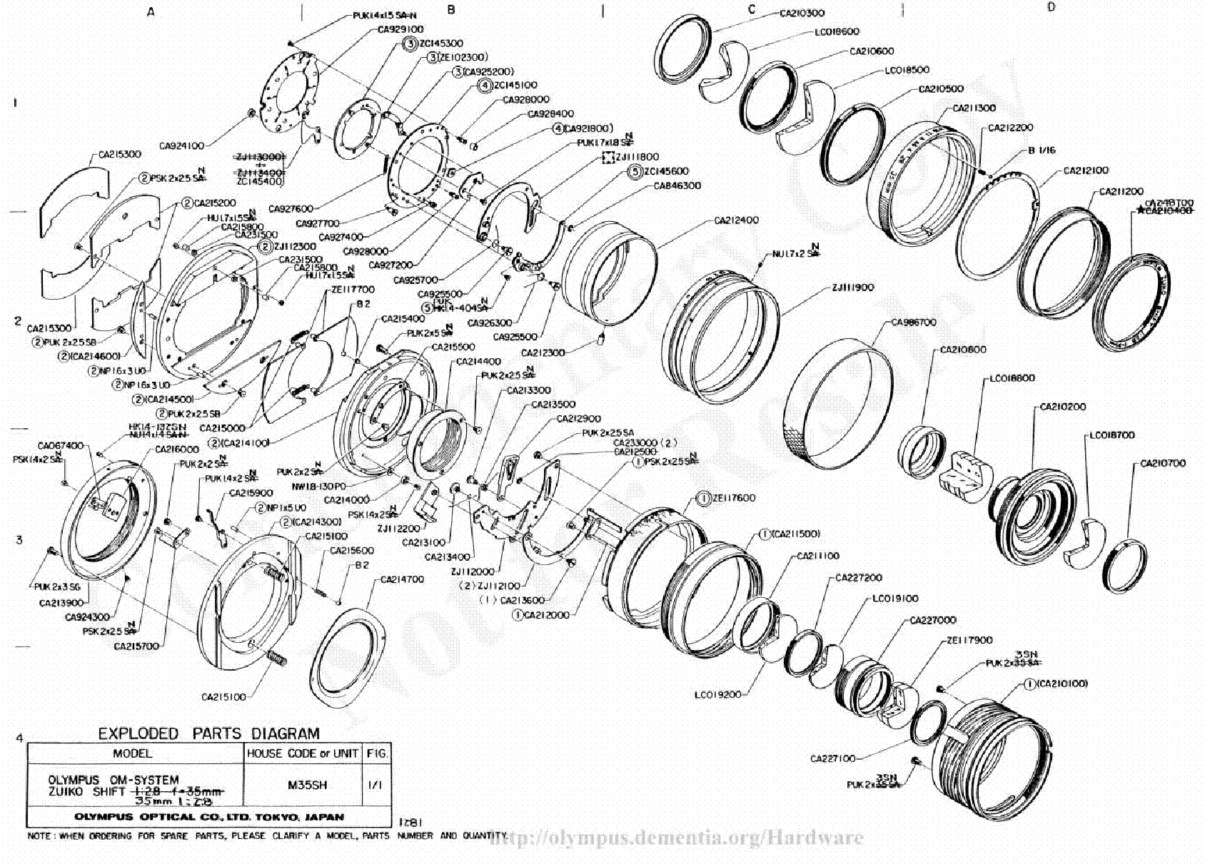 Olympus 35mm F2 8 Shift Exploded Parts Diagram Service Manual Download Schematics Eeprom
