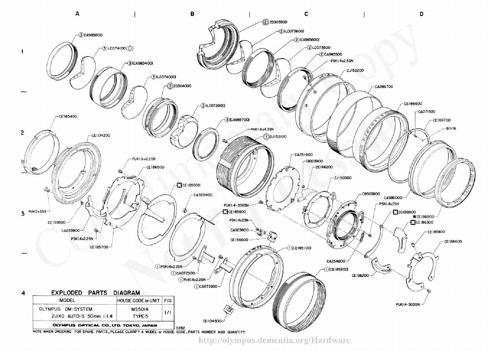 Olympus 150mm F4 Exploded Parts Diagram Service Manual