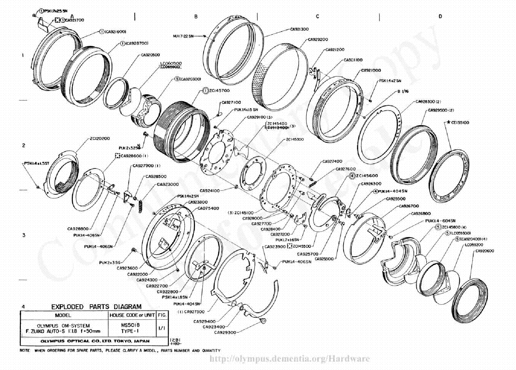 Olympus 50mm F1 8 Exploded Parts Diagram Service Manual