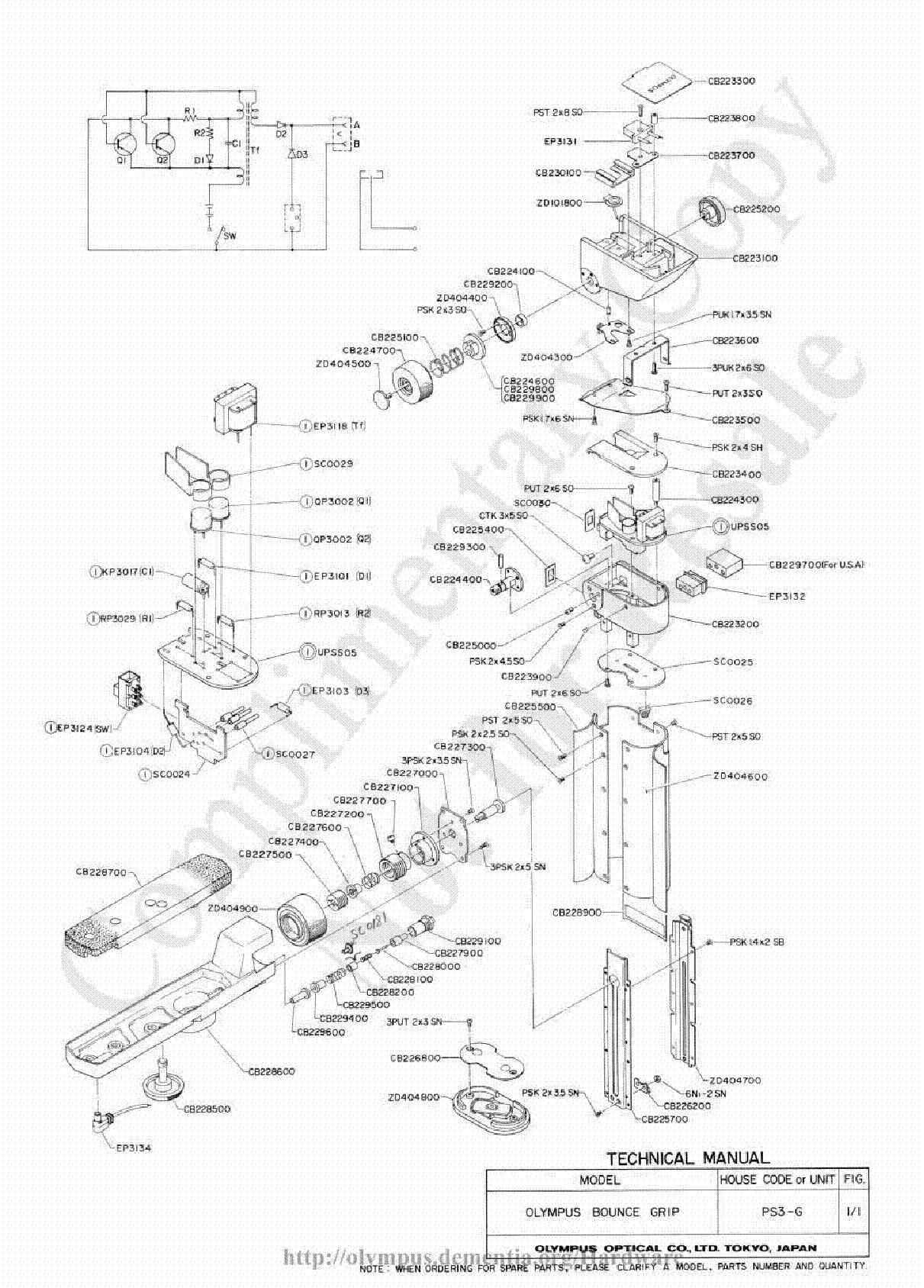 Olympus C 460zoom D 580zoom X 400 Parts List Service