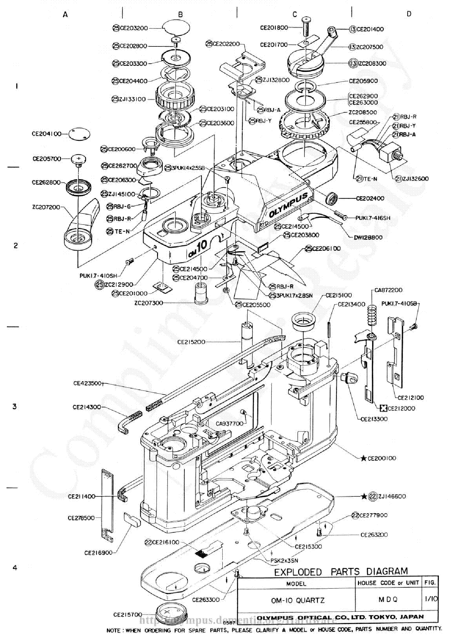 Olympus Om 10 Quartz Exploded Parts Diagram Service Manual