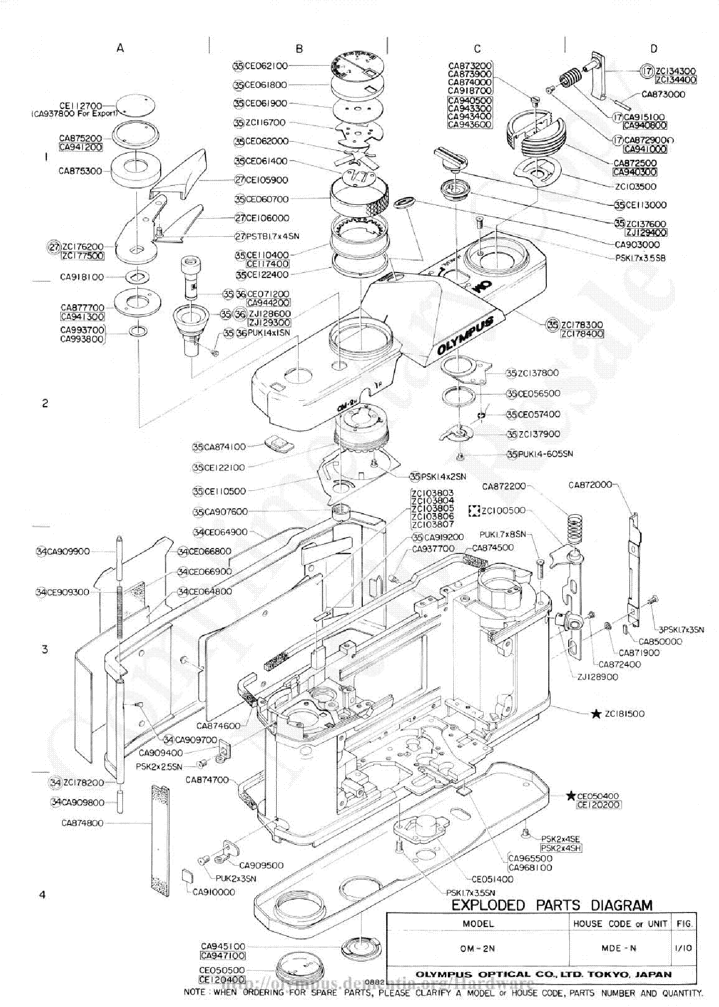 Olympus Om 2n Exploded Parts Diagram Service Manual