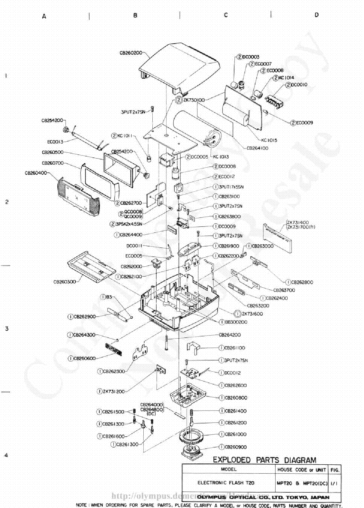 Olympus T 20 Exploded Parts Diagram Service Manual