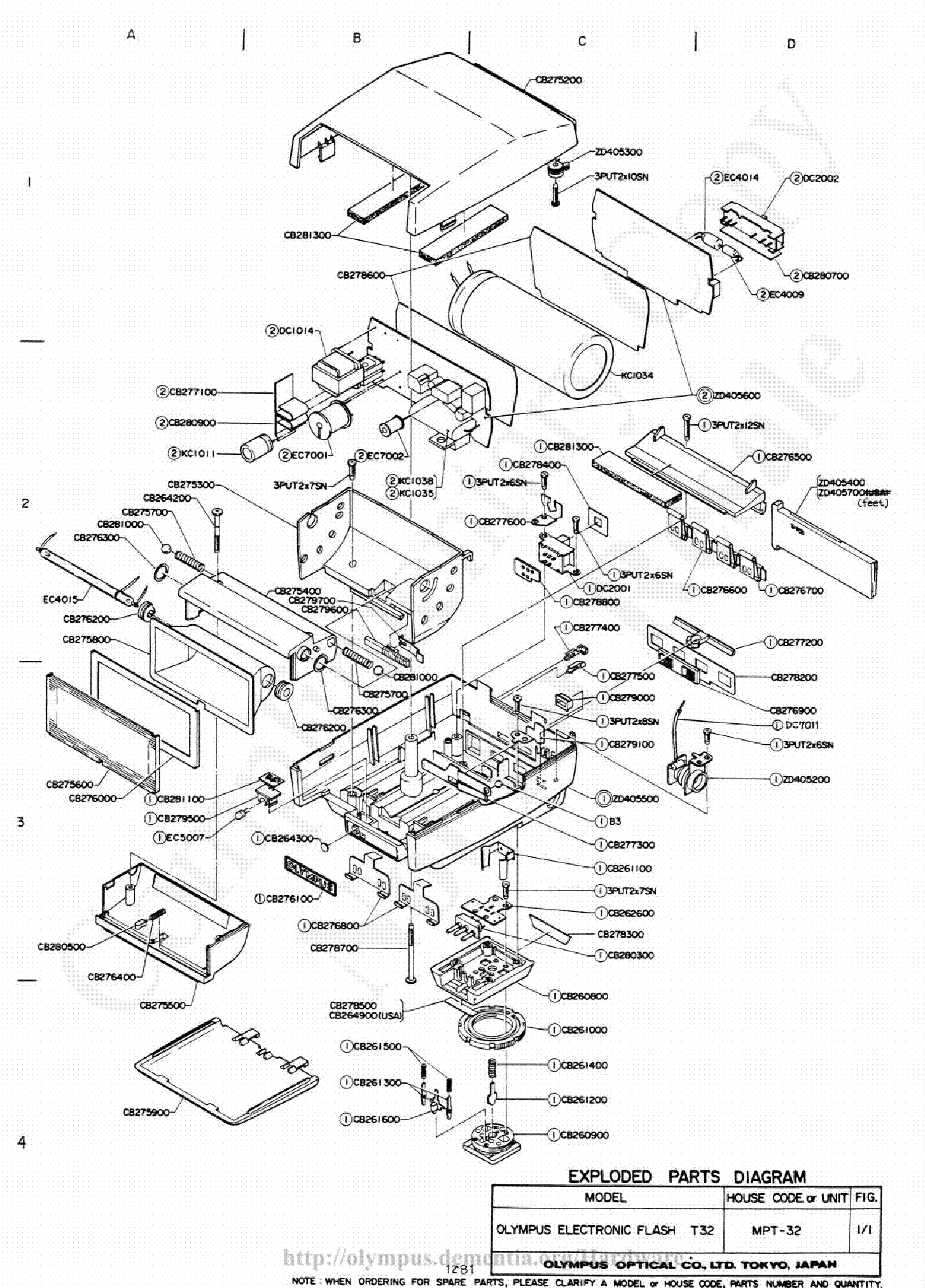 Olympus T 32 Exploded Parts Diagram Service Manual
