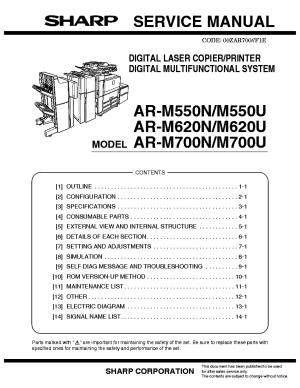 SHARP ARM550NU ARM620NU ARM700NU Service Manual