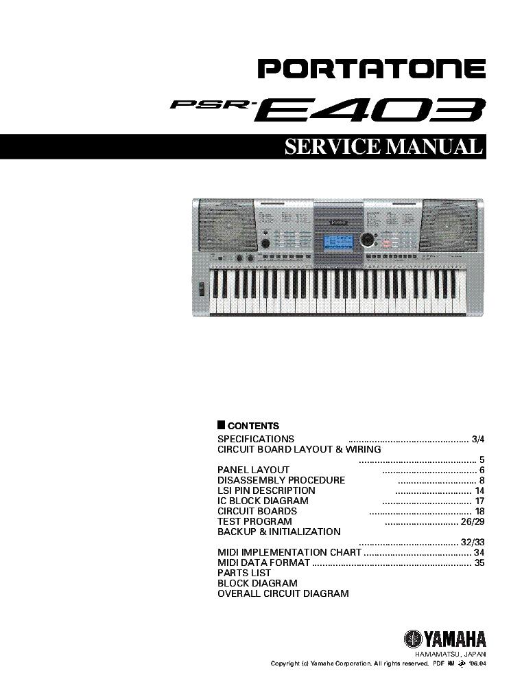 Yamaha Psr E403 Service Manual Download Schematics