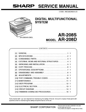 SHARP AR208S AR208D Service Manual download, schematics