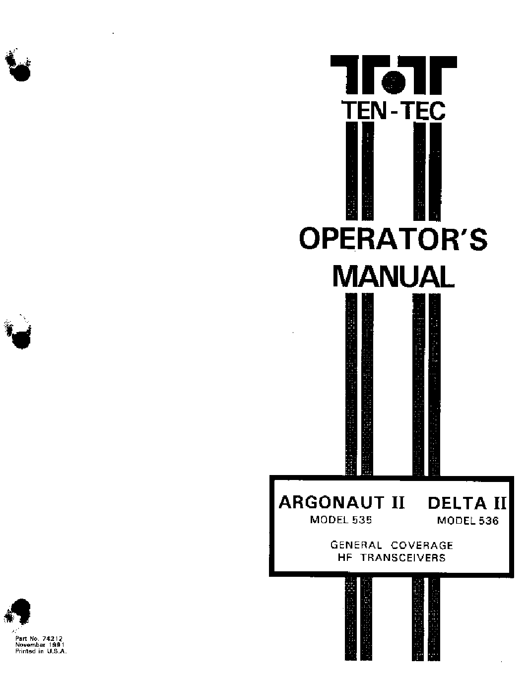 Ten Tec 417 Titan 3 Hf Linear Amplifier Sm Service Manual