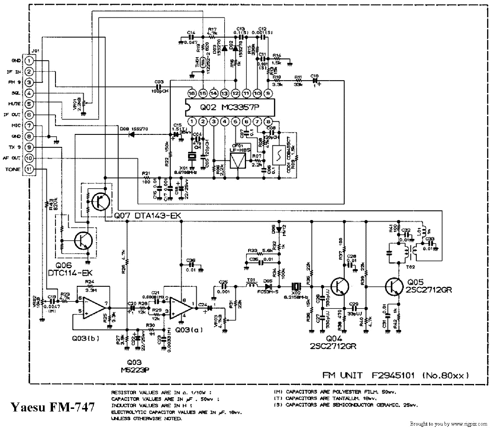 Yaesu Fm747 Sch Service Manual Download Schematics