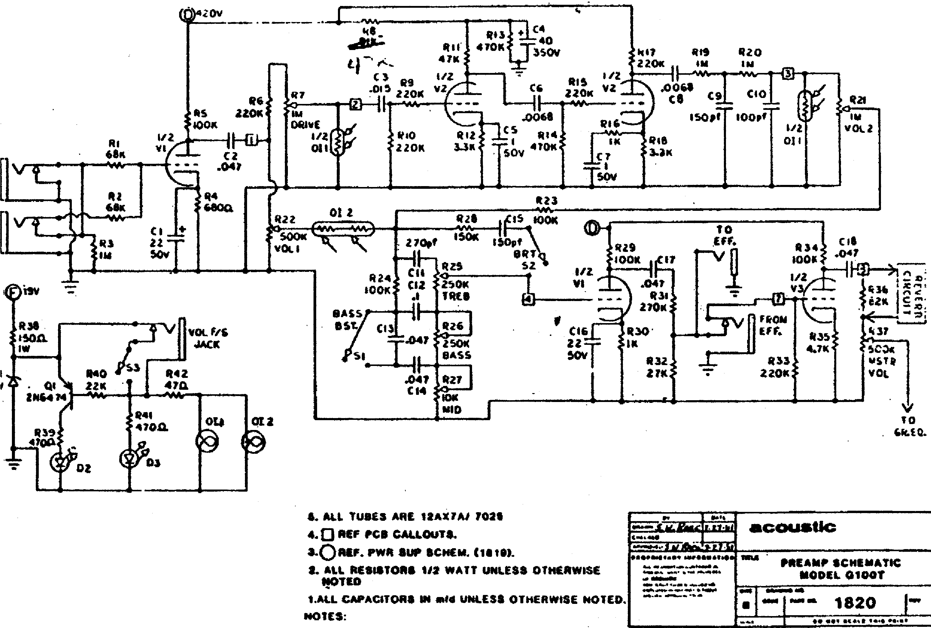 Acoustic G100t Combo Guitar Amp Sch Service Manual Download Schematics Eeprom Repair Info For