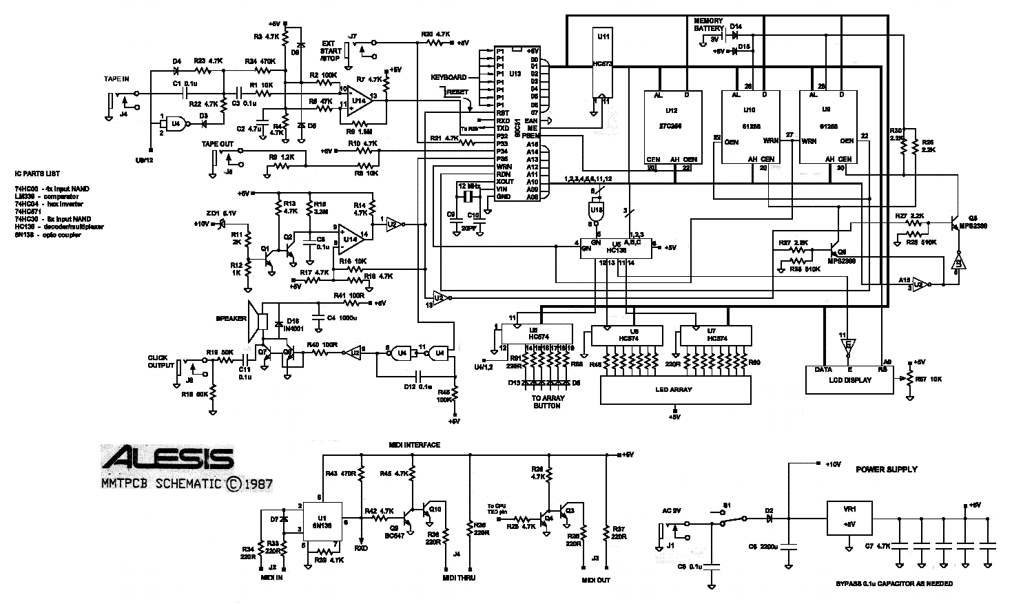 Alesis Mmt8 Rev 2 Schematic Service Manual Download Schematics Eeprom Repair Info For