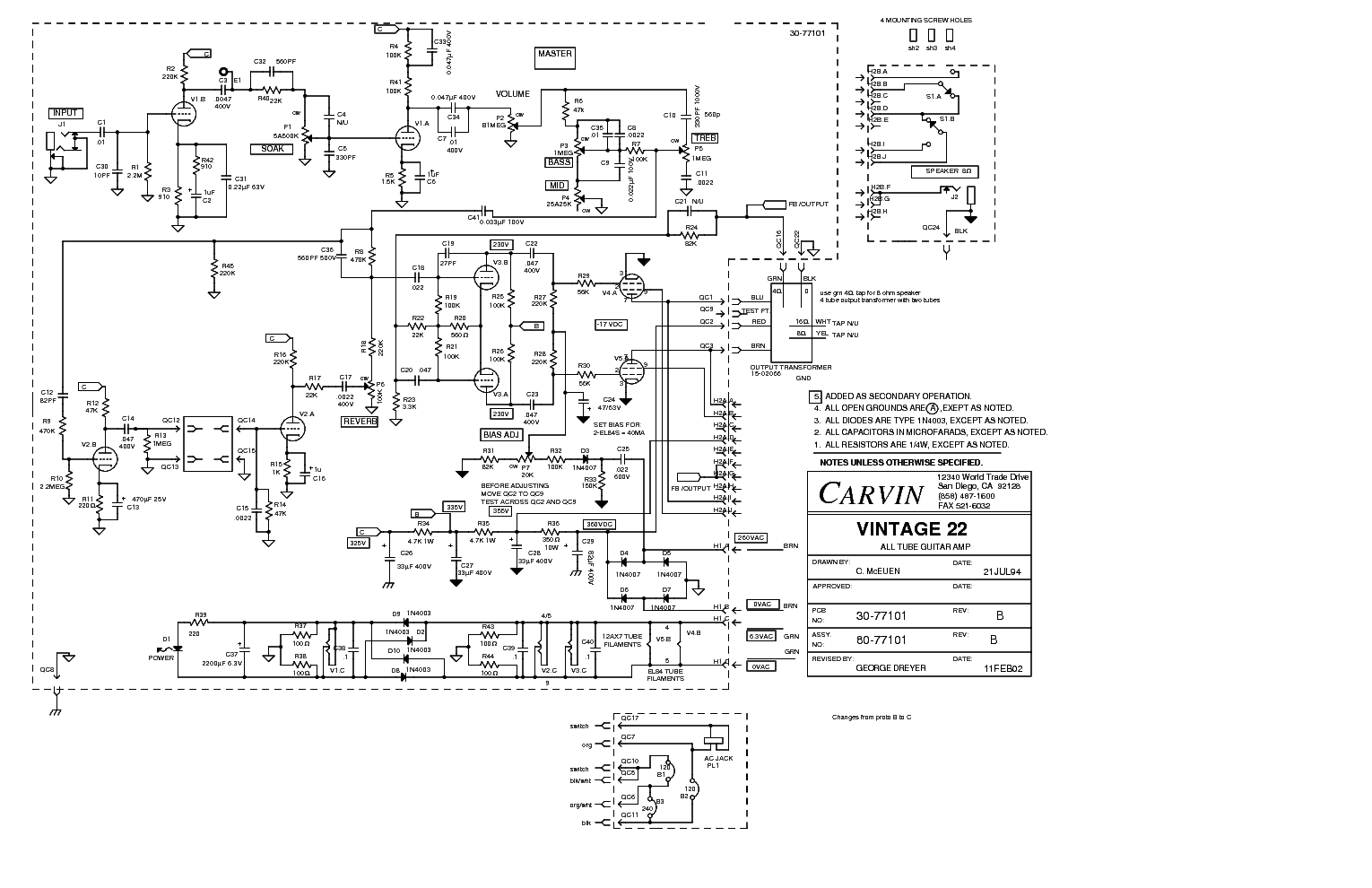 Carvin Vintage 22 Sch Service Manual Download Schematics