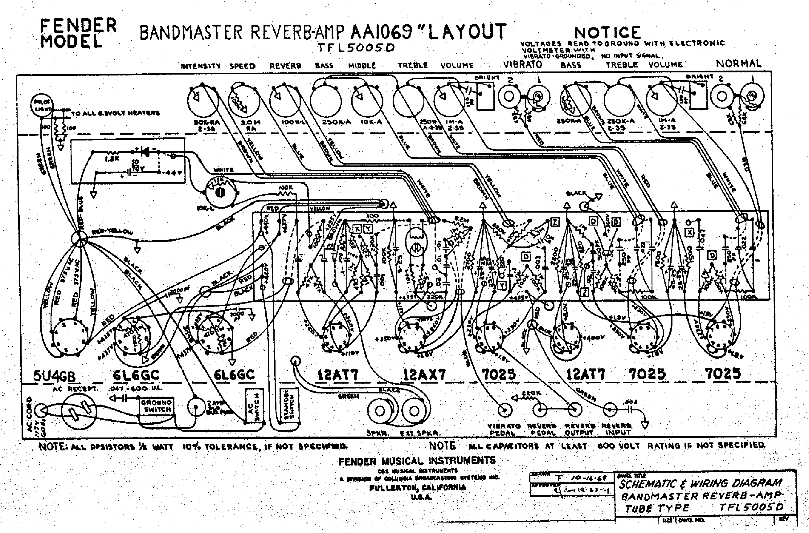 Fender Bandmaster Reverb Aa Layout Service Manual