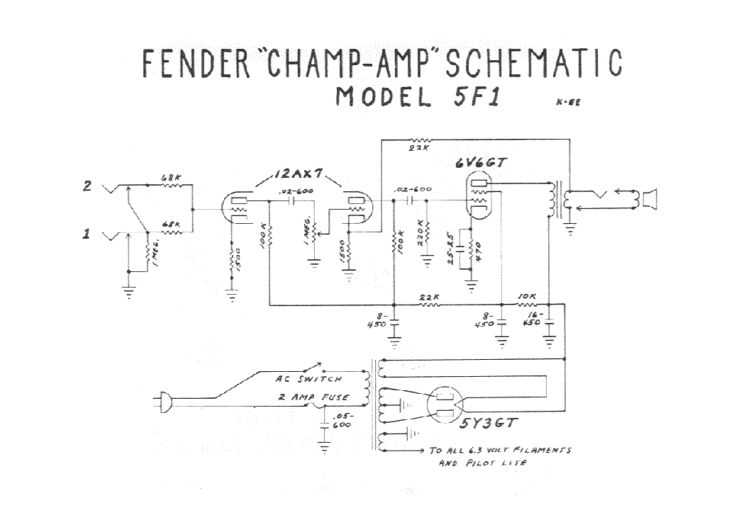 Fender Champ Amp 5f1 Sch Service Manual Download