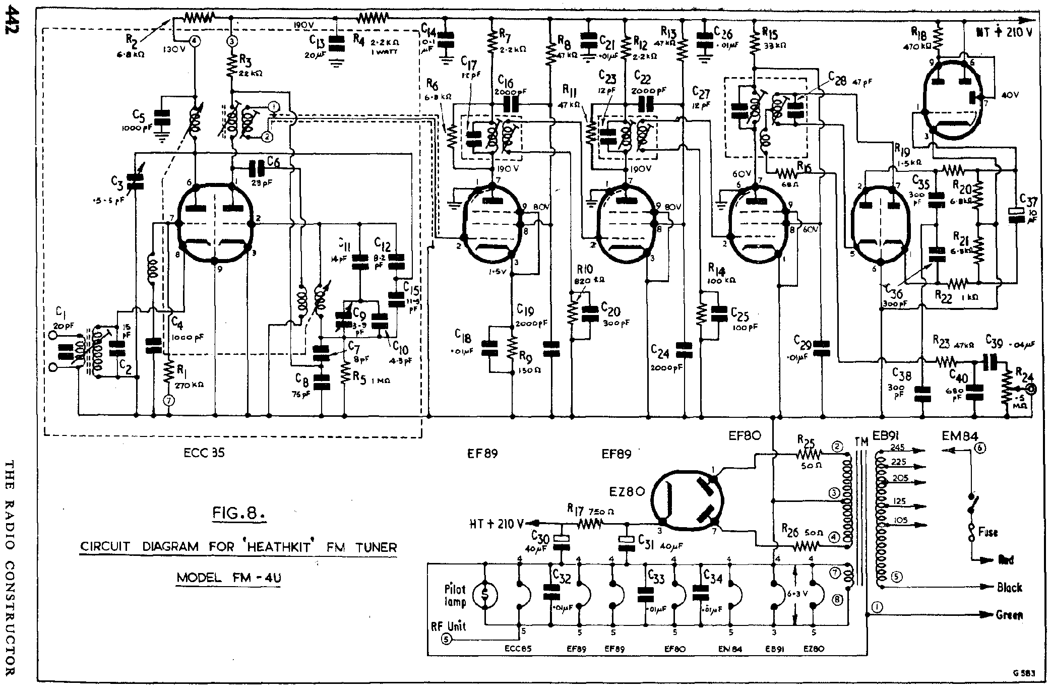 Heathkit Fm 4 U Valve Fm Tuner Sch Service Manual Download