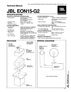 JBL ARC SUB10 DS10 POWERED SUBWOOFER 2000 SM Service