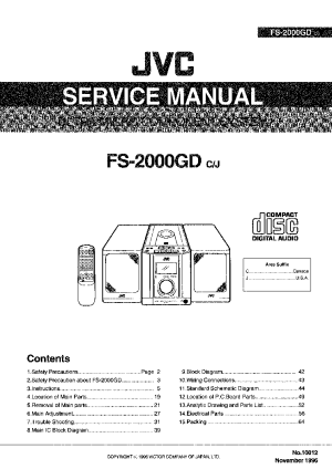 JVC FS2000GD Service Manual download, schematics, eeprom