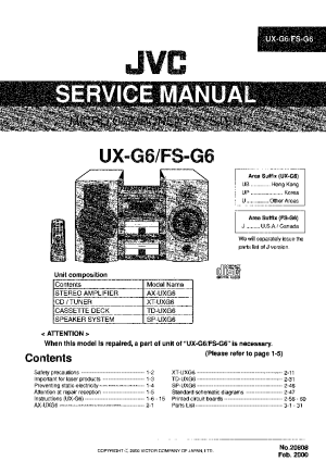 JVC UXG6 FSG6 Service Manual download, schematics