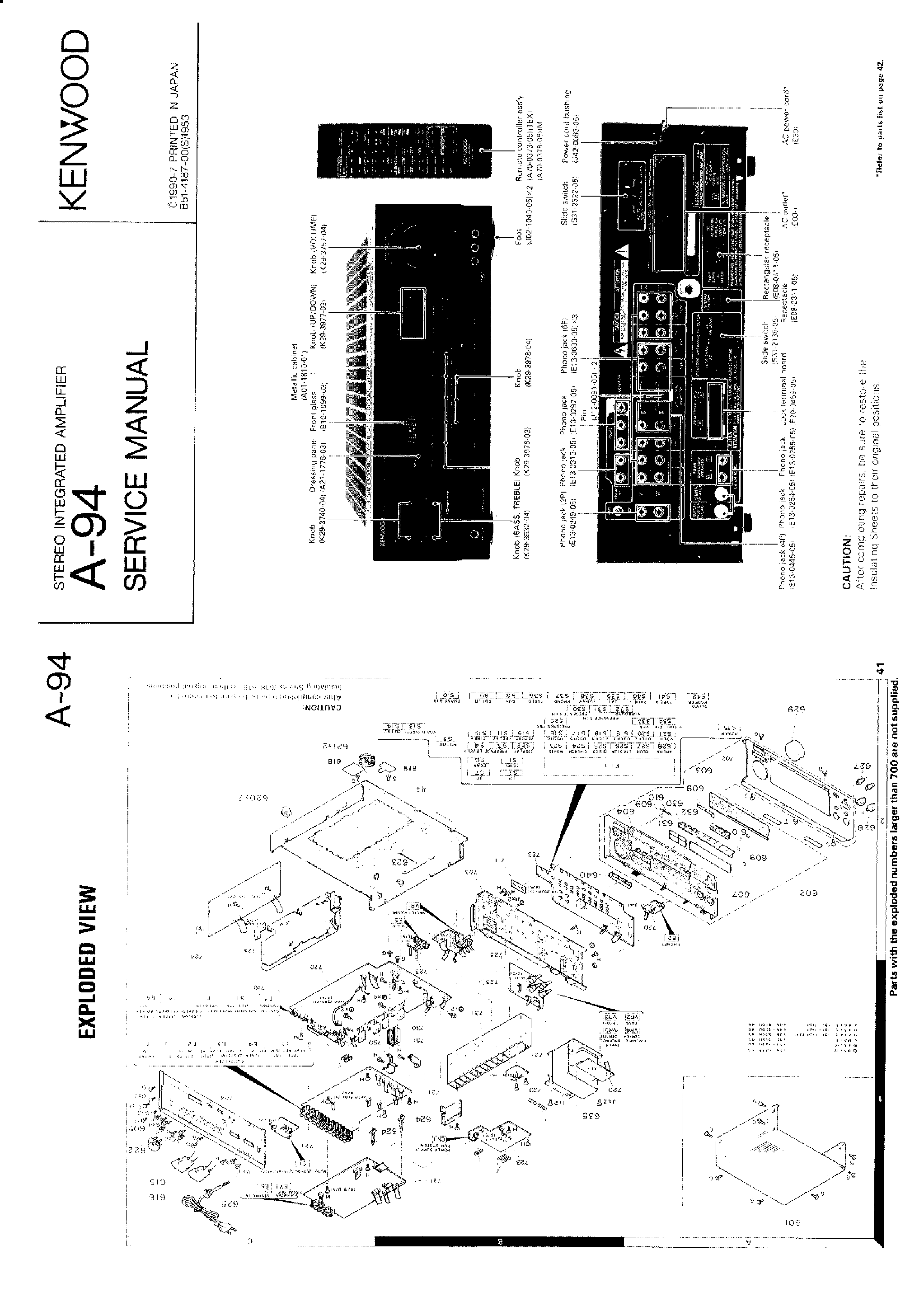 Kenwood A 94 Stereo Integrated Amplifier Service Manual Download Schematics Eeprom Repair
