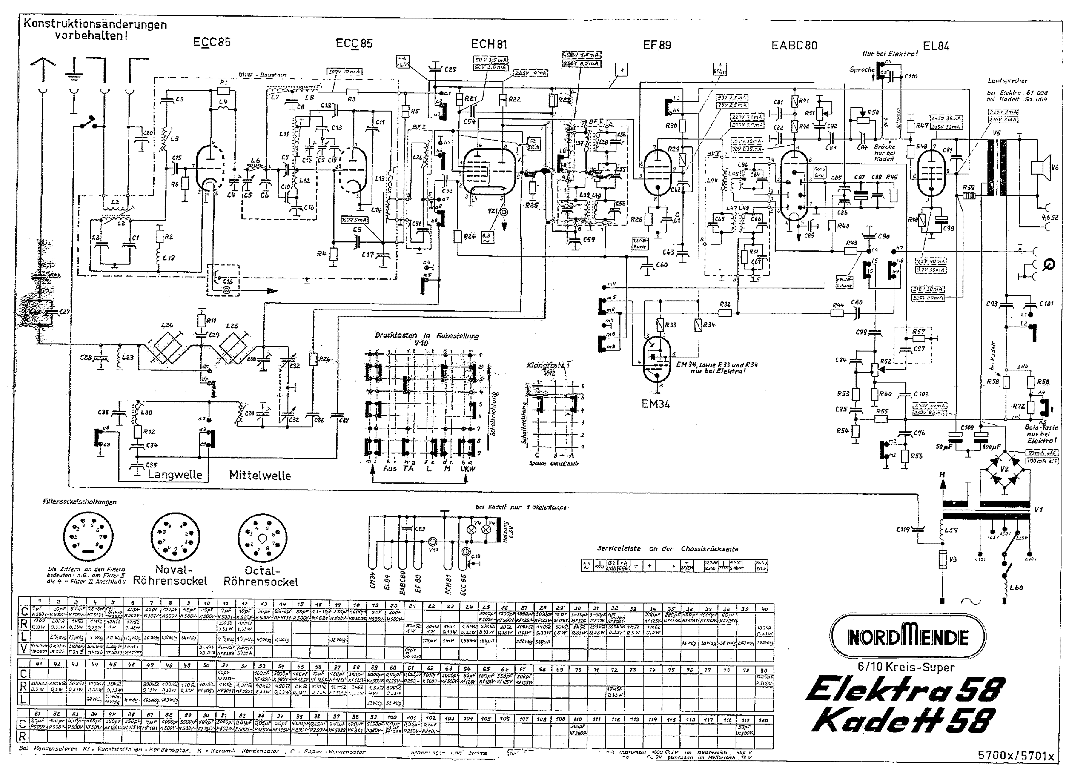 Nordmende Elektra58 Service Manual Download Schematics