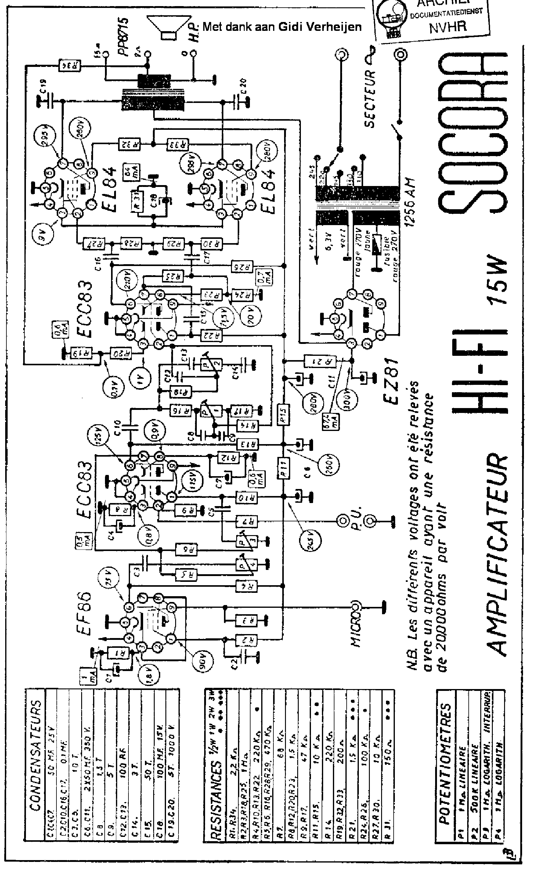 Socora Ampli 15w Hifi 2xel84 Audio Amplifier Sch Service Manual Download Schematics Eeprom