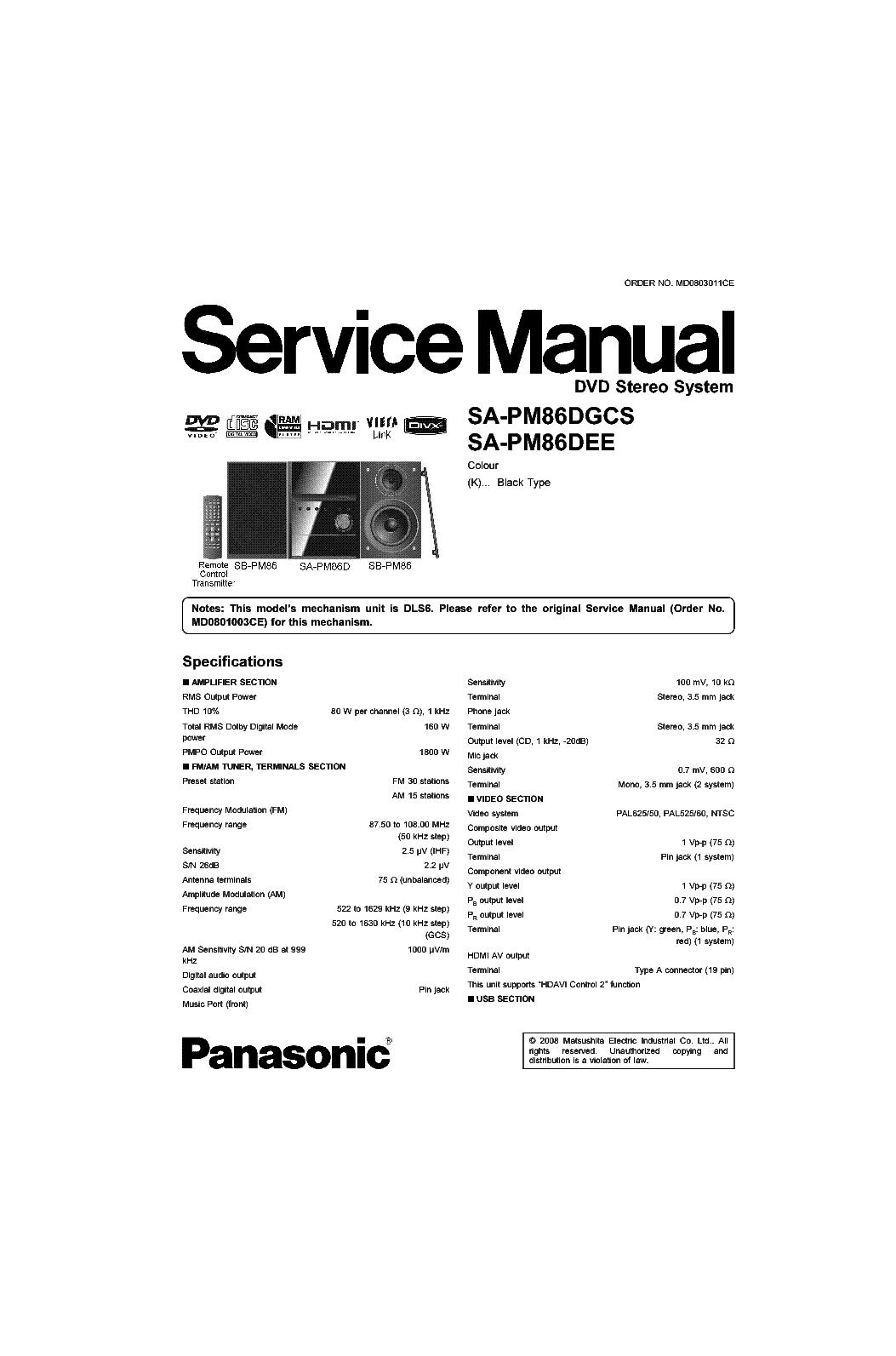 Panasonic Sa Pm86 Service Manual Download Schematics