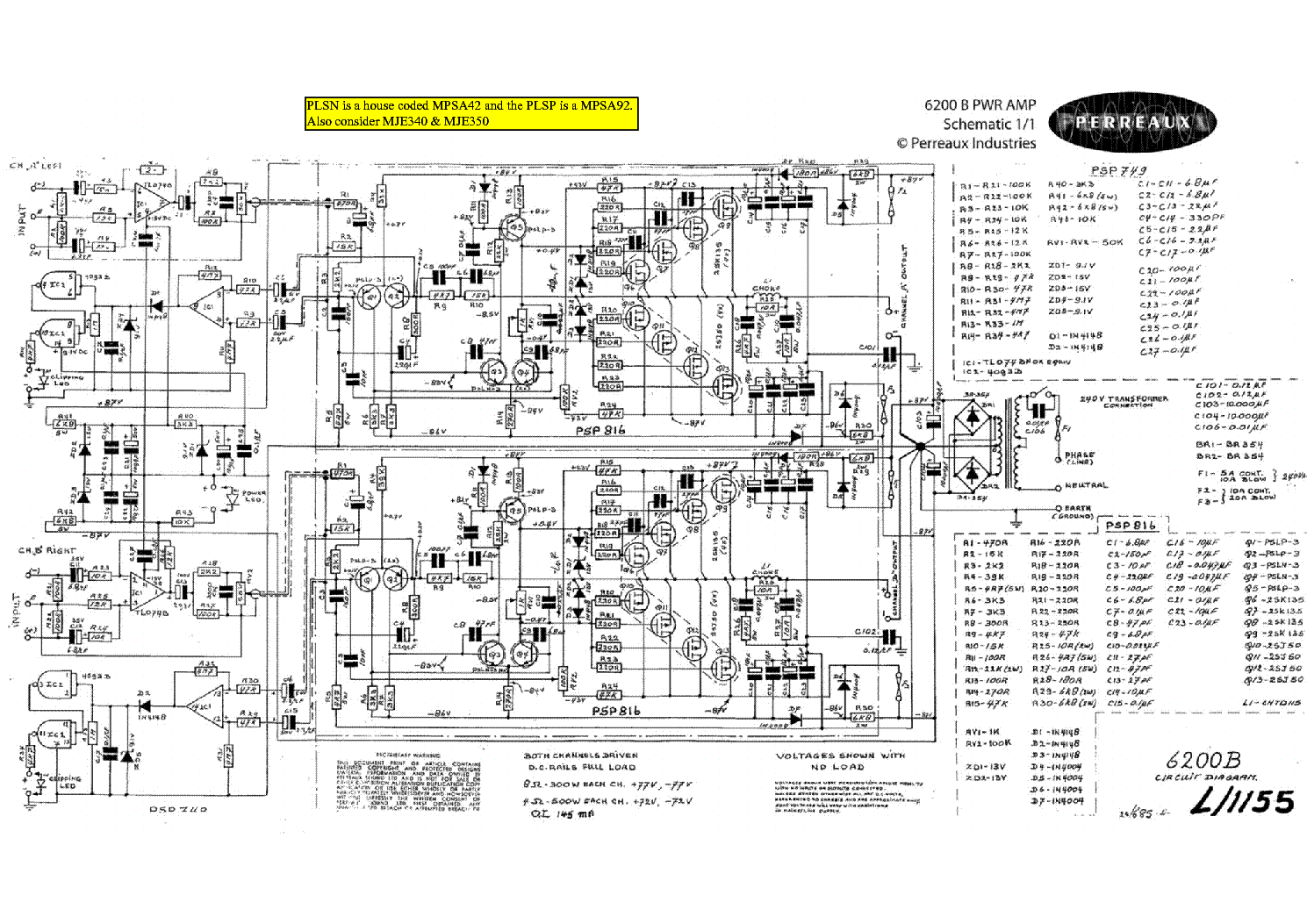 Perreaux B Sch Service Manual Download Schematics